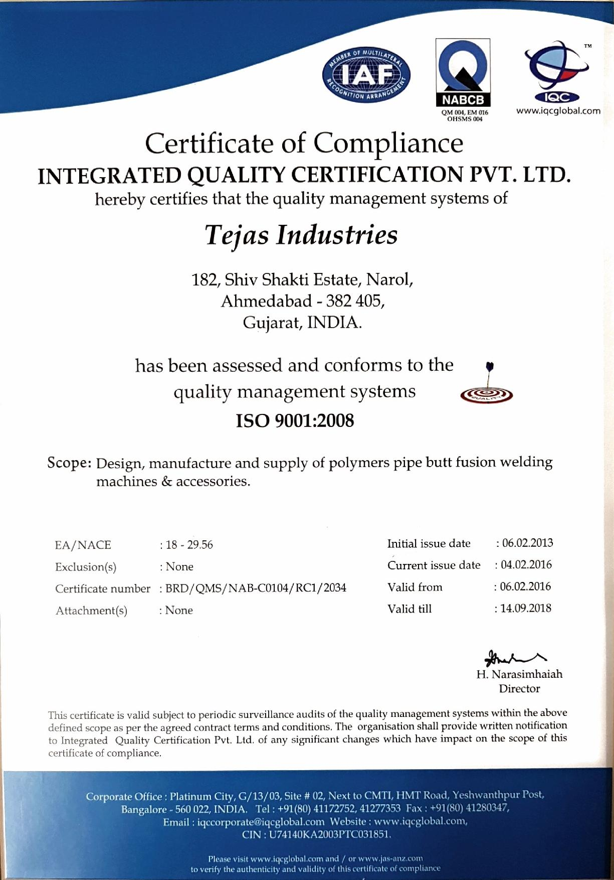 Quality & Certification - Tejas Industries, Ahmedabad